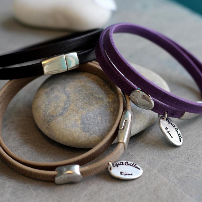 Bracelet cuir 2 tours